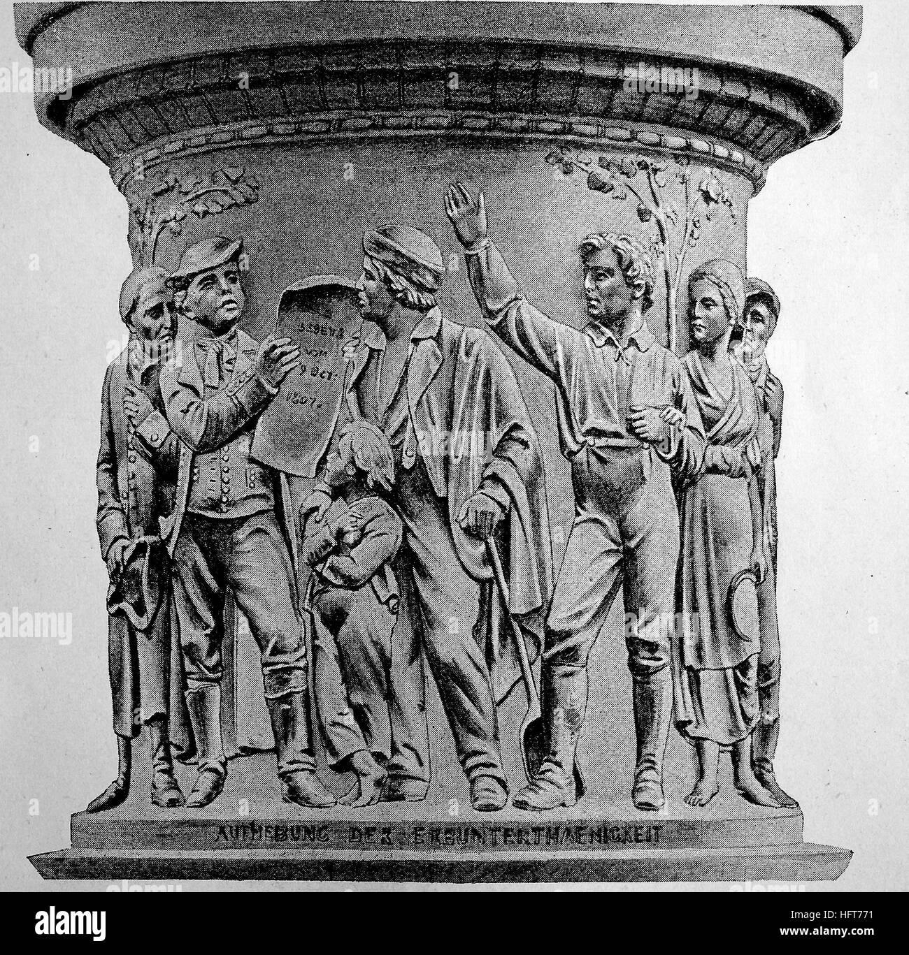 Abolizione dell'eredità, sollievo da Hugo Hagen presso il monumento all'imperatore Heinrich Friedrich Immagini Stock