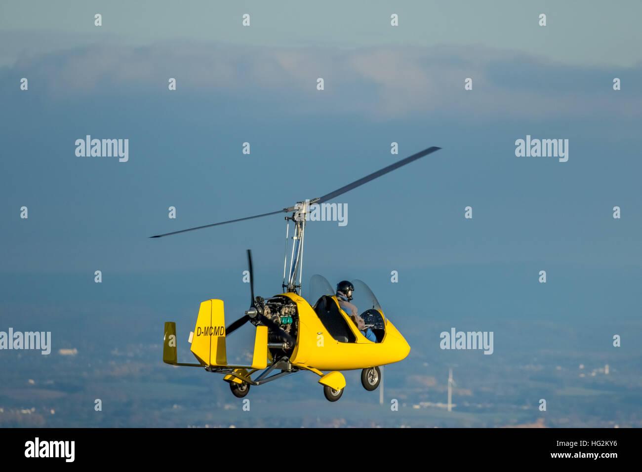 Vista aerea, Girocottero su Witten, D-MCMD, Ultra Leichhardt aeromobili, attrezzature sportive, volare, Witten, Immagini Stock