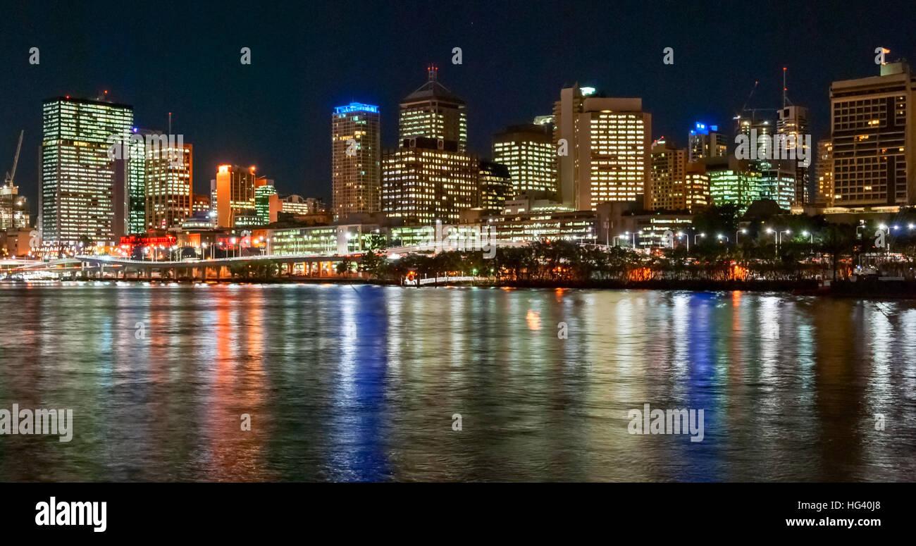 Brisbane, Australia, skyline di notte Immagini Stock