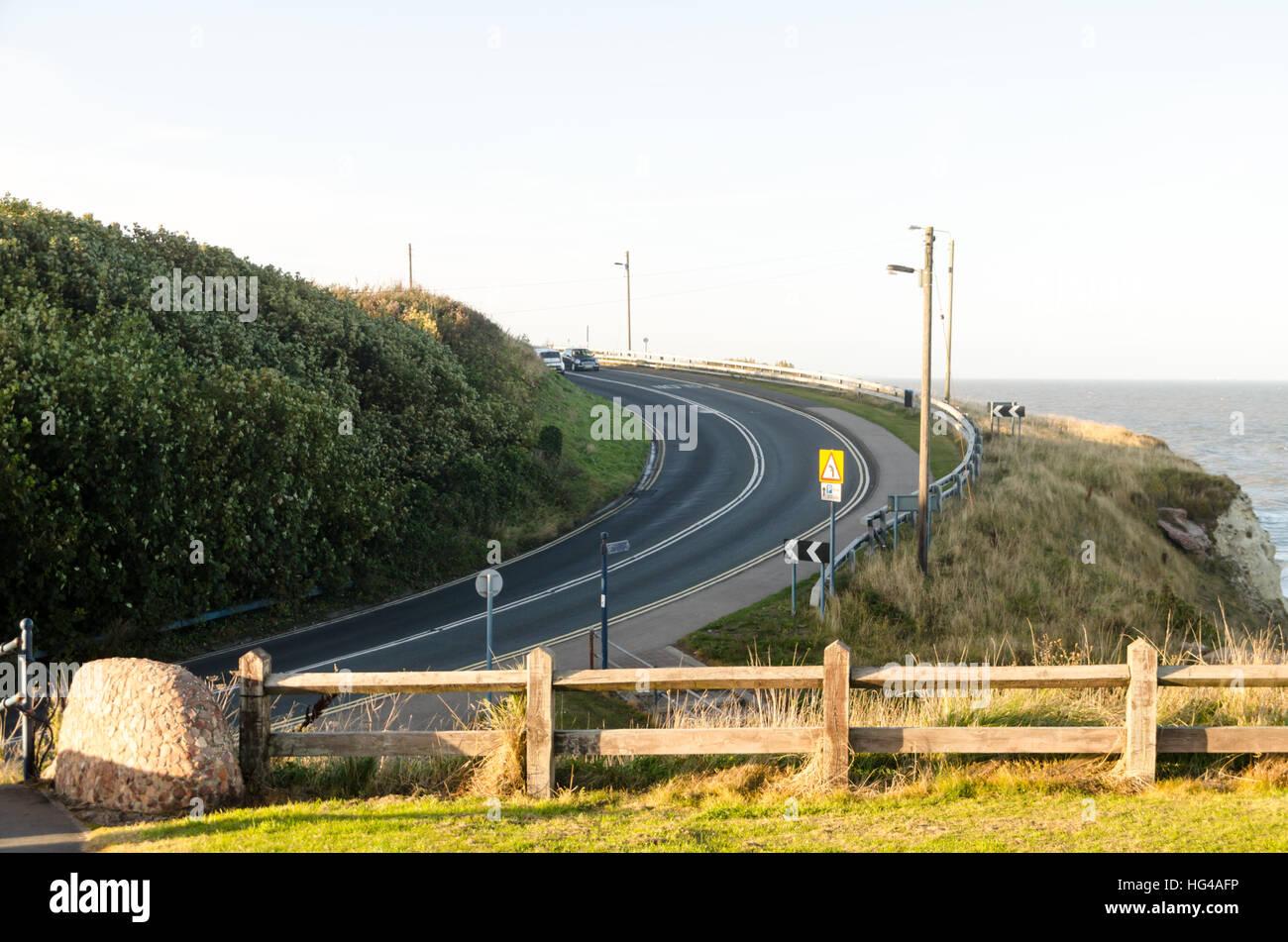 Vista della curvatura del B1287 road a Seaham Immagini Stock