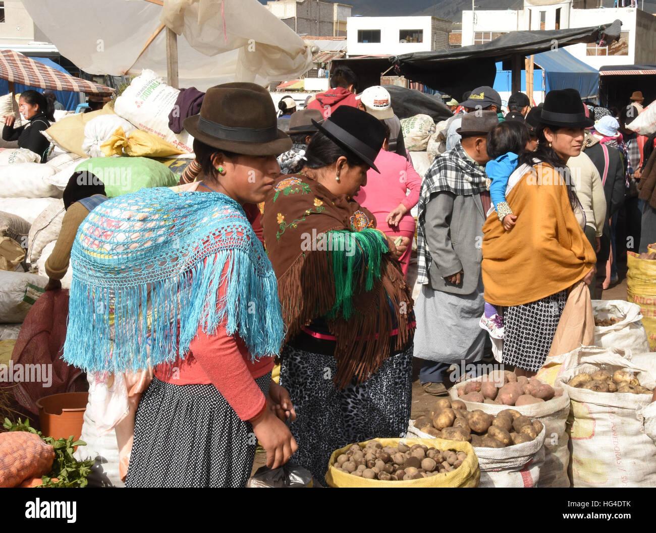 Giovedì mercati, Saquisili, Ecuador, Sud America Immagini Stock