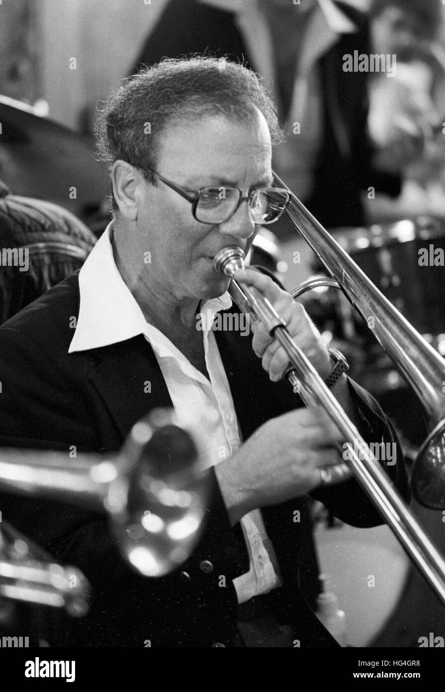 George Masso, al 1982 Kool Jazz Festival Immagini Stock