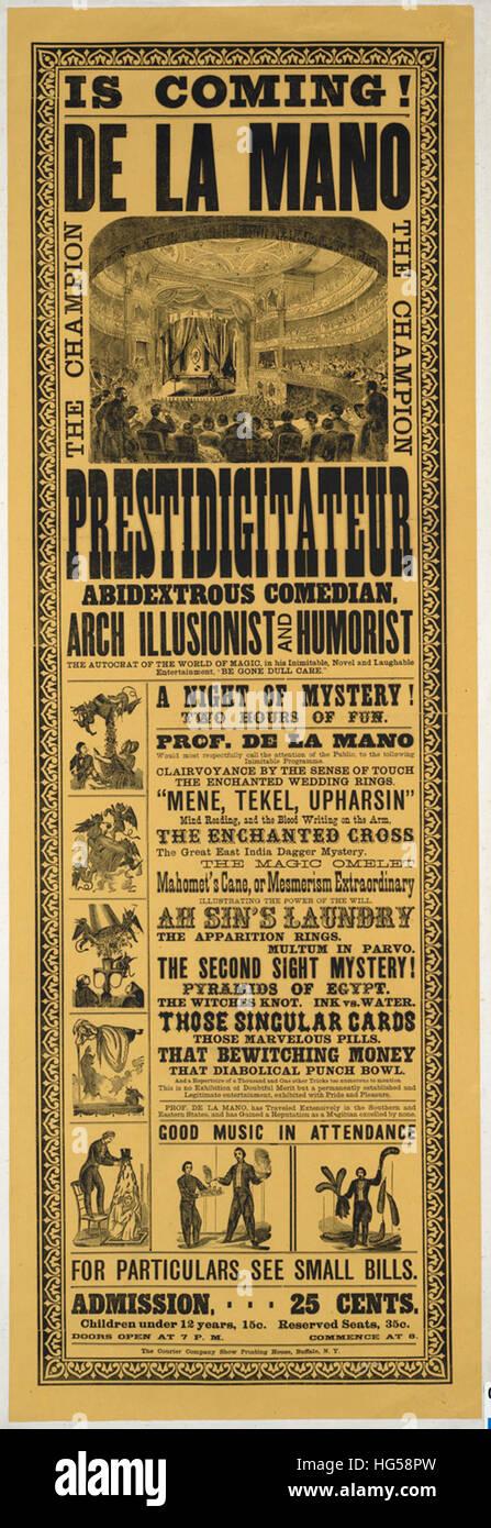 Poster di circo - De La Mano è venuta! _ Il campione prestidigitateur, abidextrous comico, arco illusionista Immagini Stock