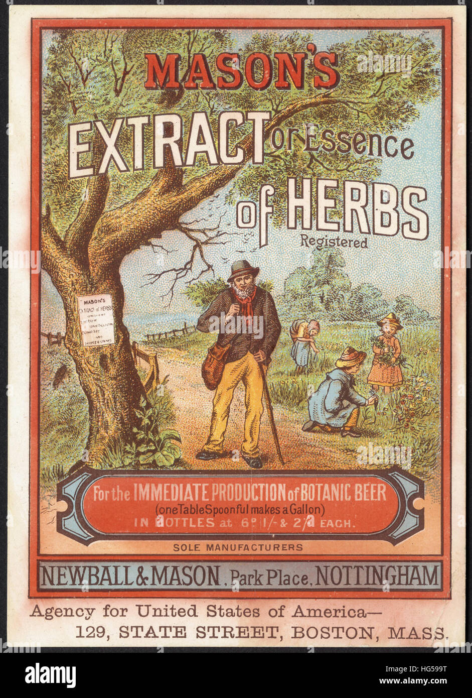 Il commercio di bevande carte - Mason's estratto o essenza di erbe per l'immediata produzione di birra botanico. Immagini Stock