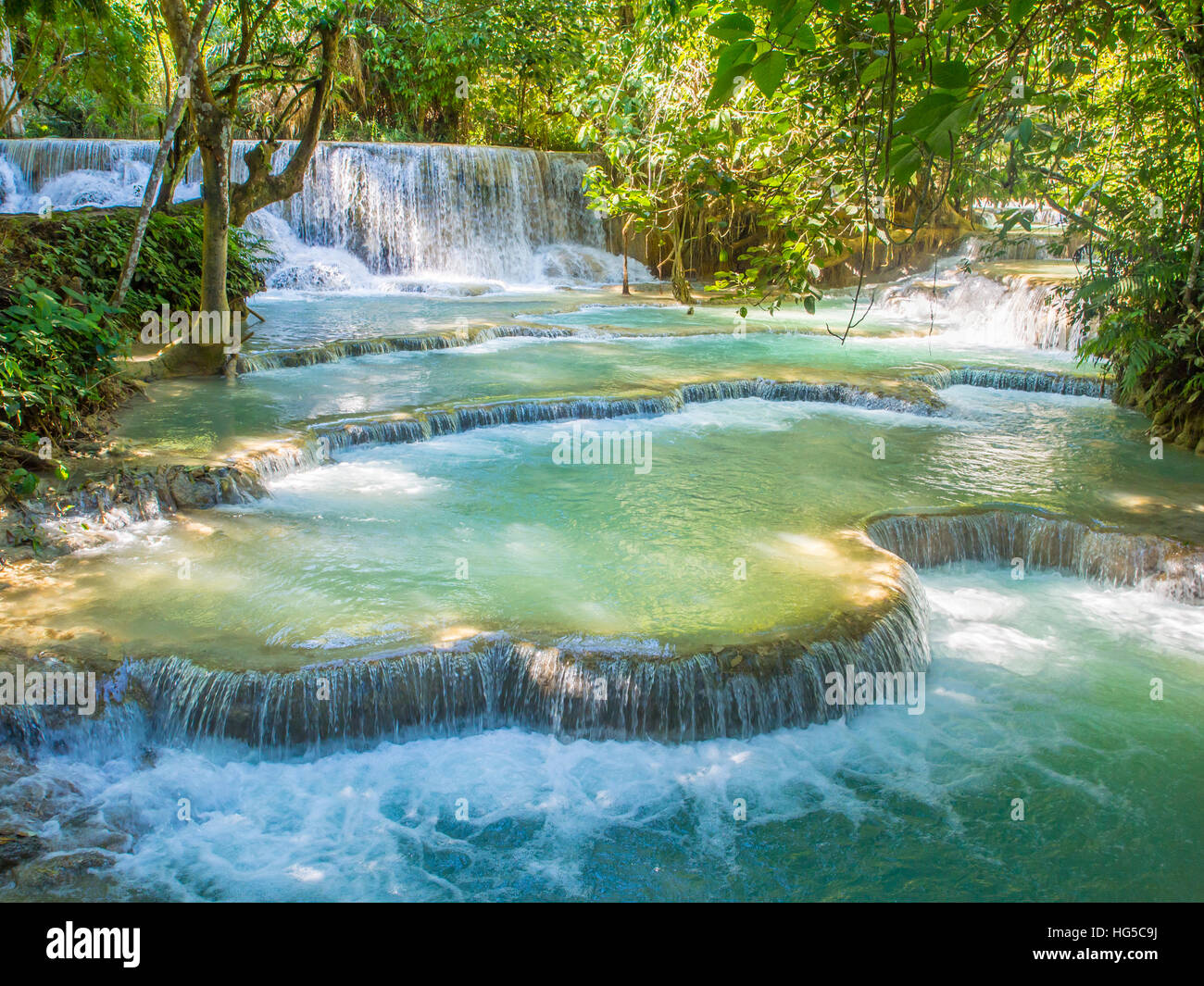 Keang Si cascate, vicino a Luang Prabang, Laos, Indocina, Asia sud-orientale, Asia Immagini Stock