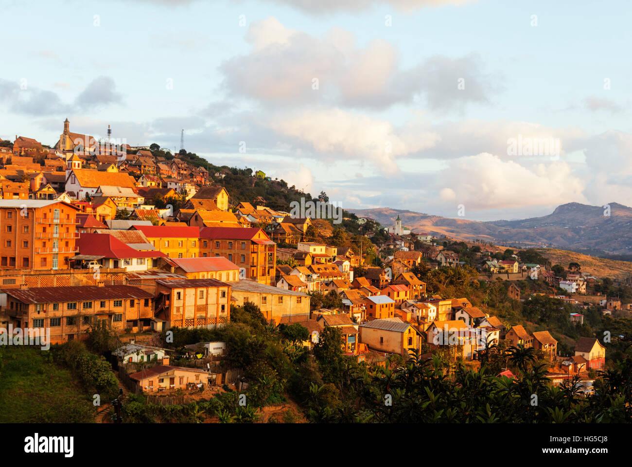 Fianarantsoa Haute Ville nel pomeriggio, zona centrale, Madagascar Immagini Stock