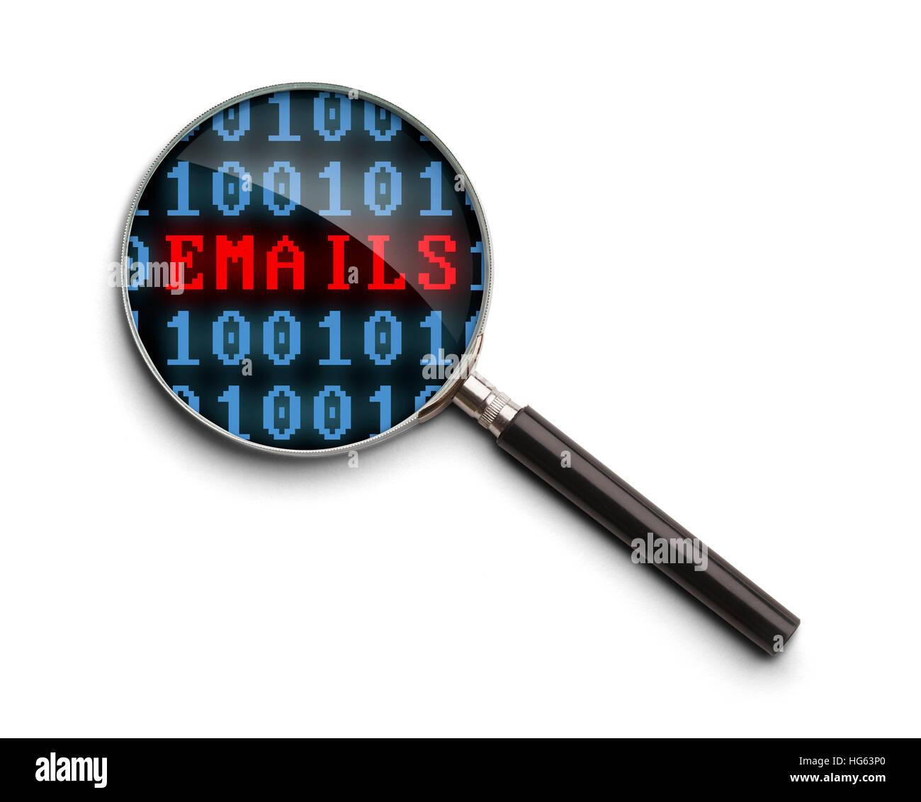 Codice di computer Email inchiesta lente di ingrandimento isolato su uno sfondo bianco. Immagini Stock