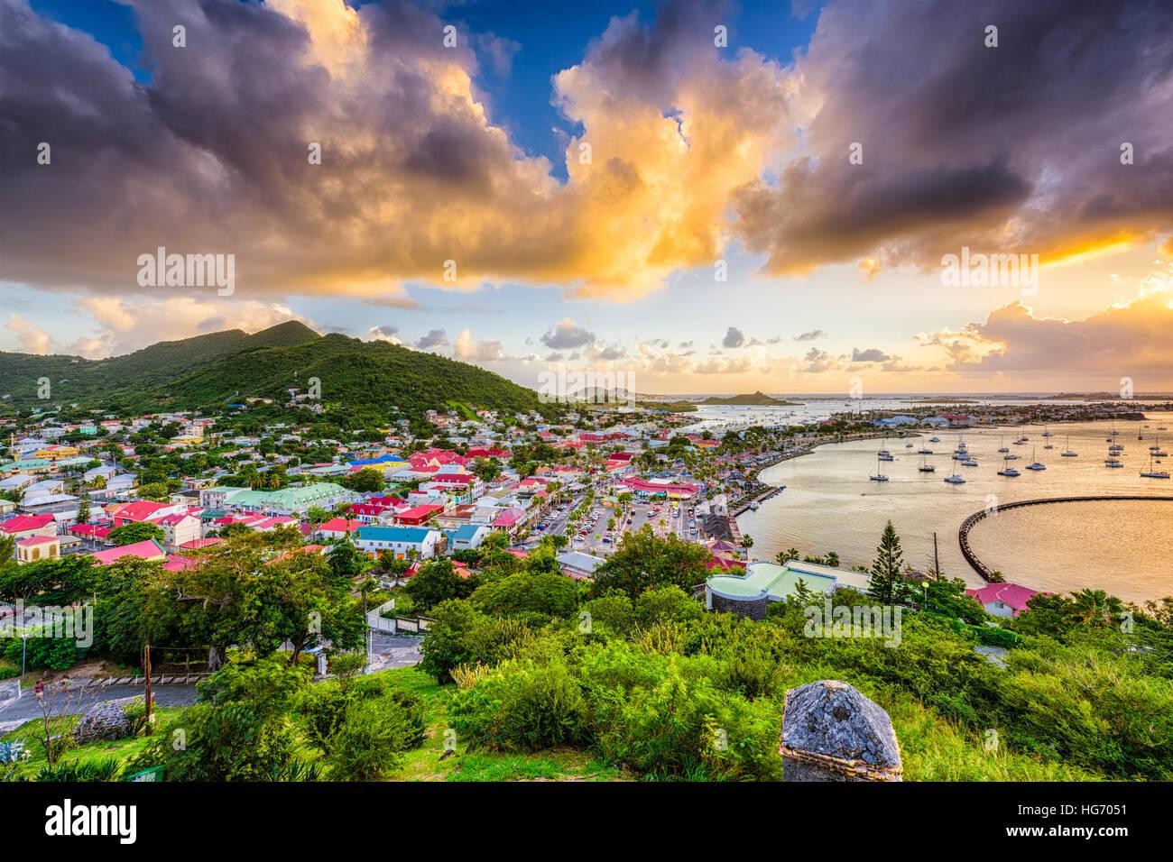 Marigot, San Martin skyline della città. Immagini Stock