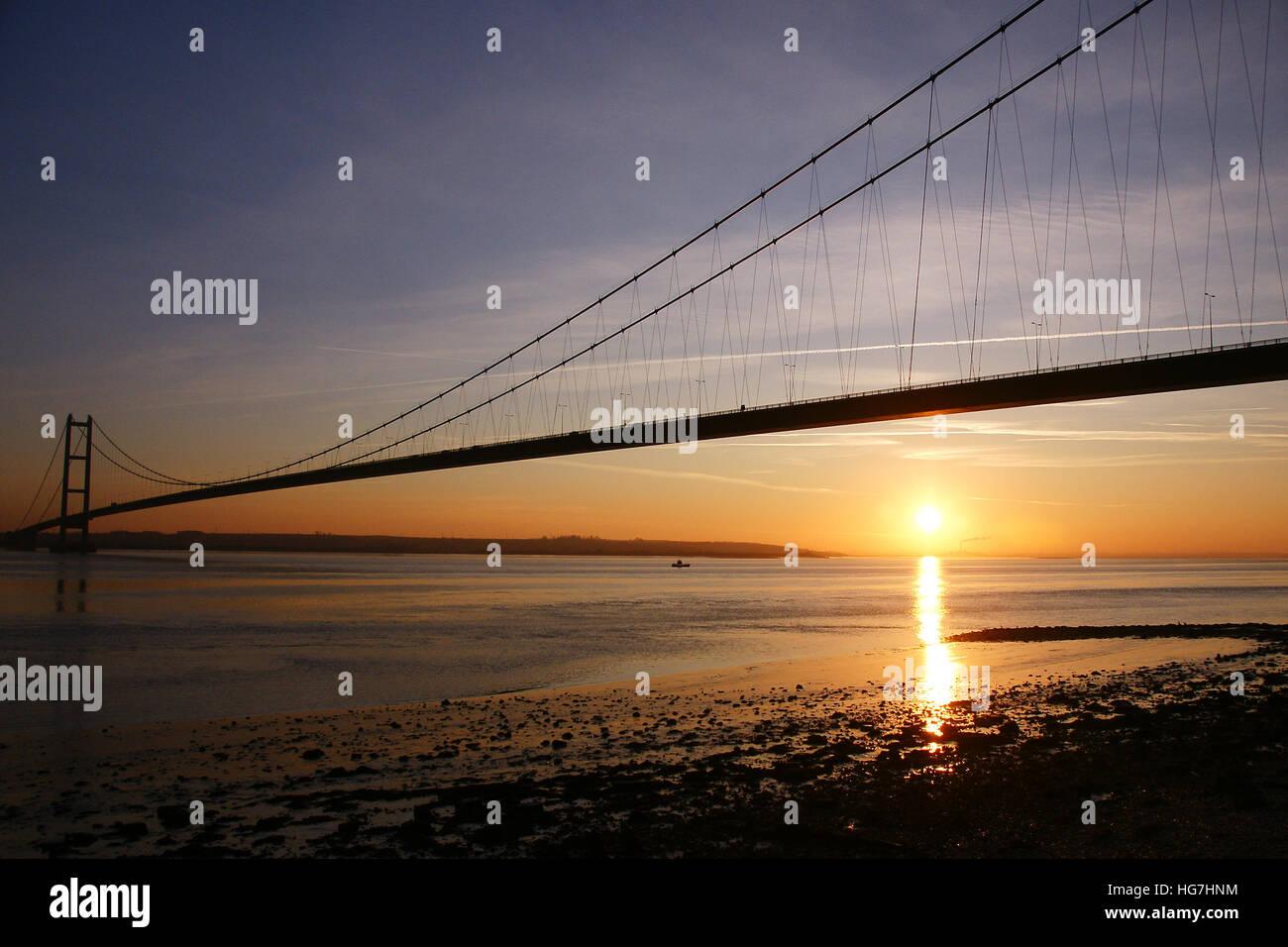 Humber Bridge, Hessle, Kingston upon Hull Immagini Stock