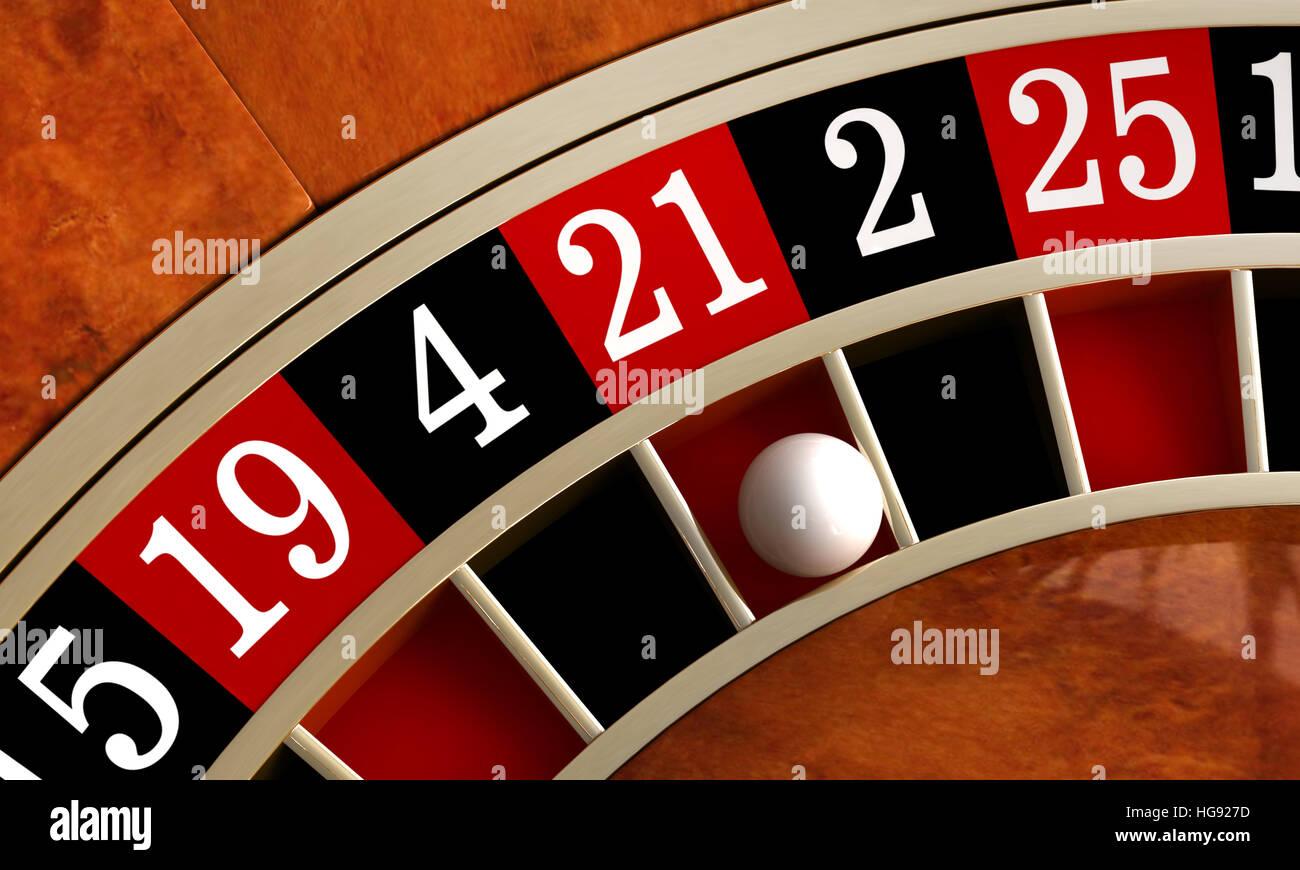 3D render di closeup dettaglio da casino roulette Immagini Stock