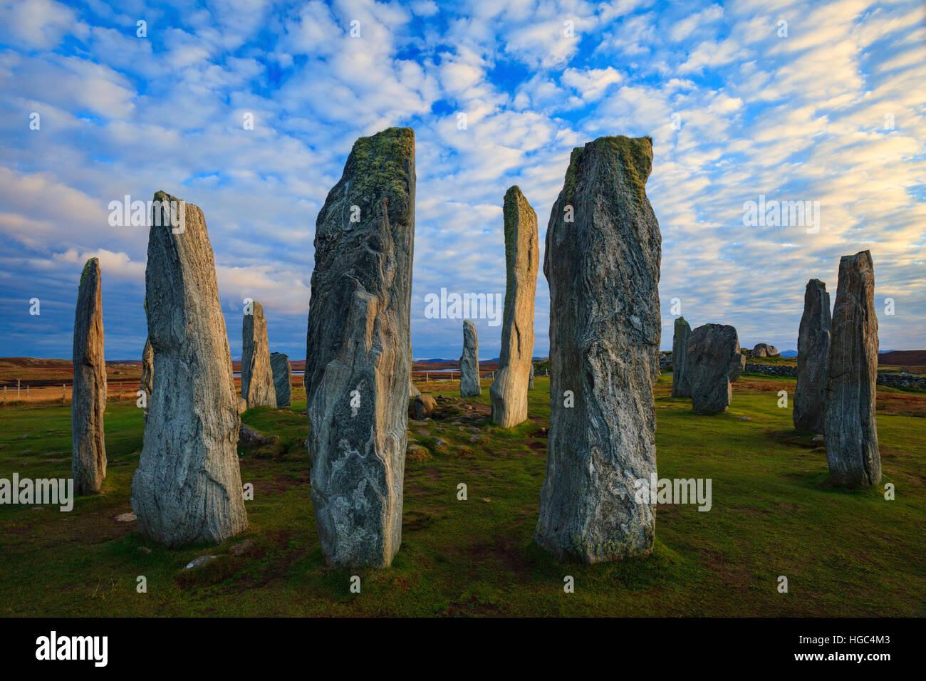 Callanish (Calanais) cerchi di pietre dell'isola di Lewis nelle Ebridi Esterne. Immagini Stock