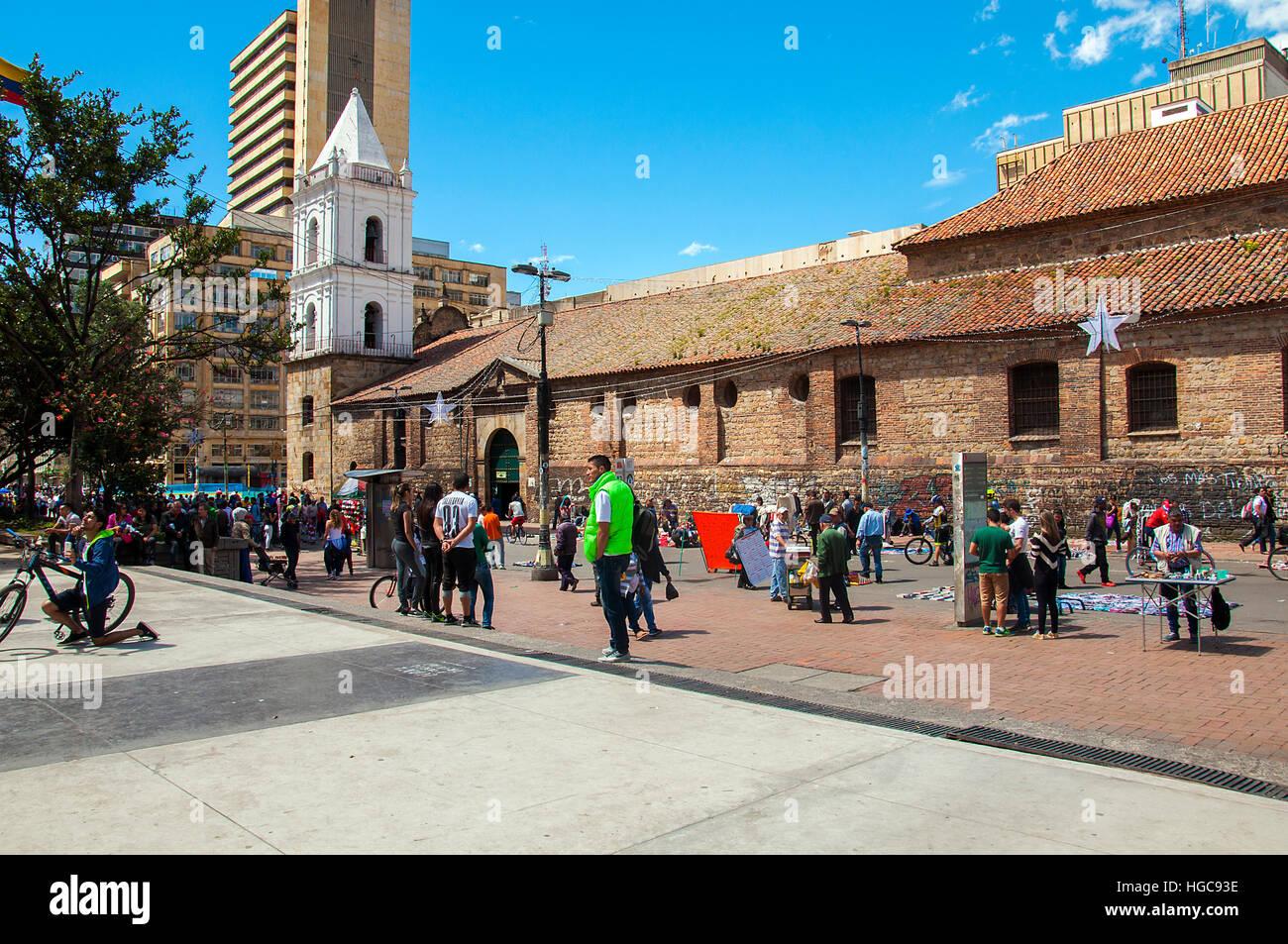 Per le strade delle città di Bogotà Immagini Stock
