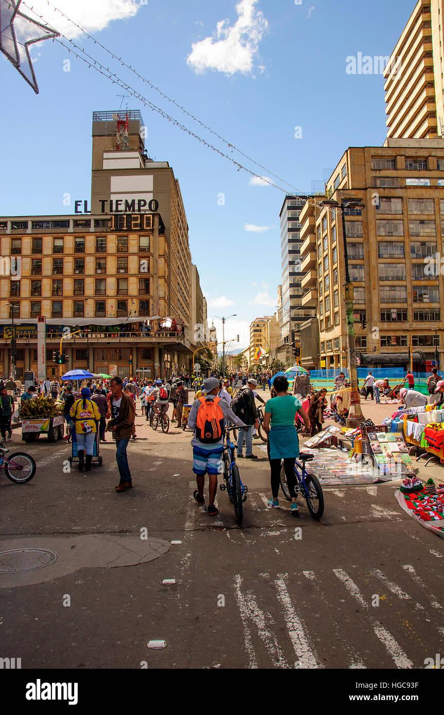 Strada di città di Bogotà Immagini Stock