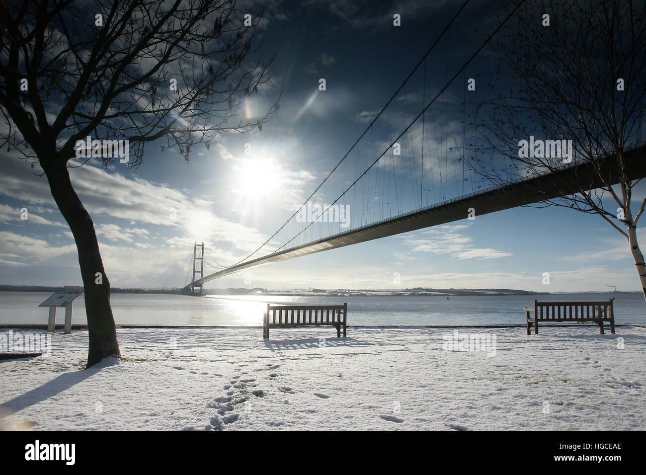 Neve, Humber Bridge, Hessle east yorkshire Immagini Stock
