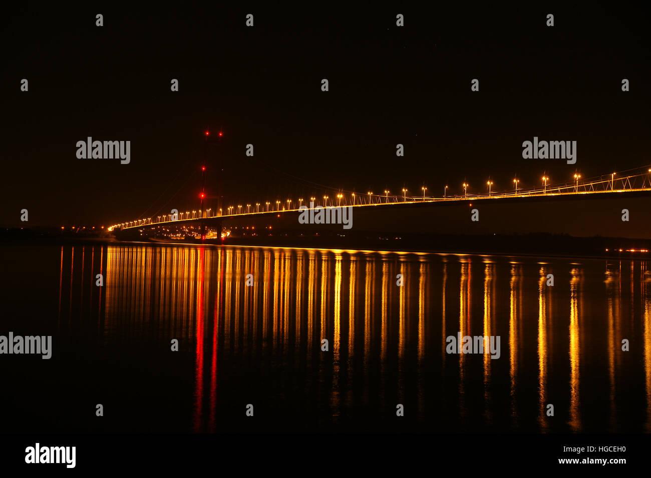 Tempo di notte, Humber Bridge, Hessle, East Yorkshire Immagini Stock