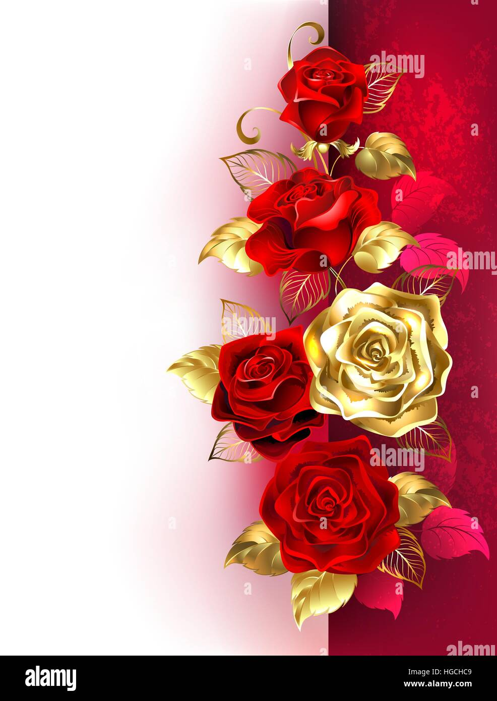 Design con rosso e oro rose su un bianco e lo sfondo rosso. Design con rose. Immagini Stock