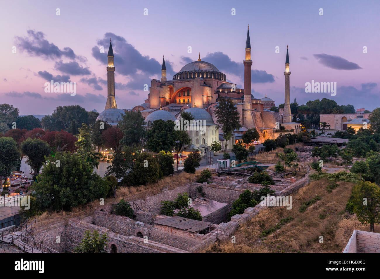 Hagia Sophia al crepuscolo, Istanbul Immagini Stock