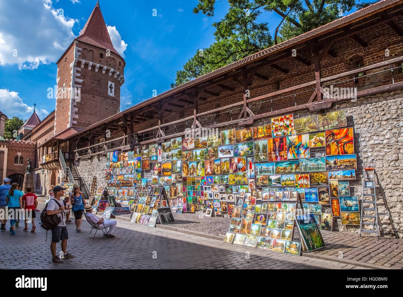 Le mura della città di Cracovia Immagini Stock