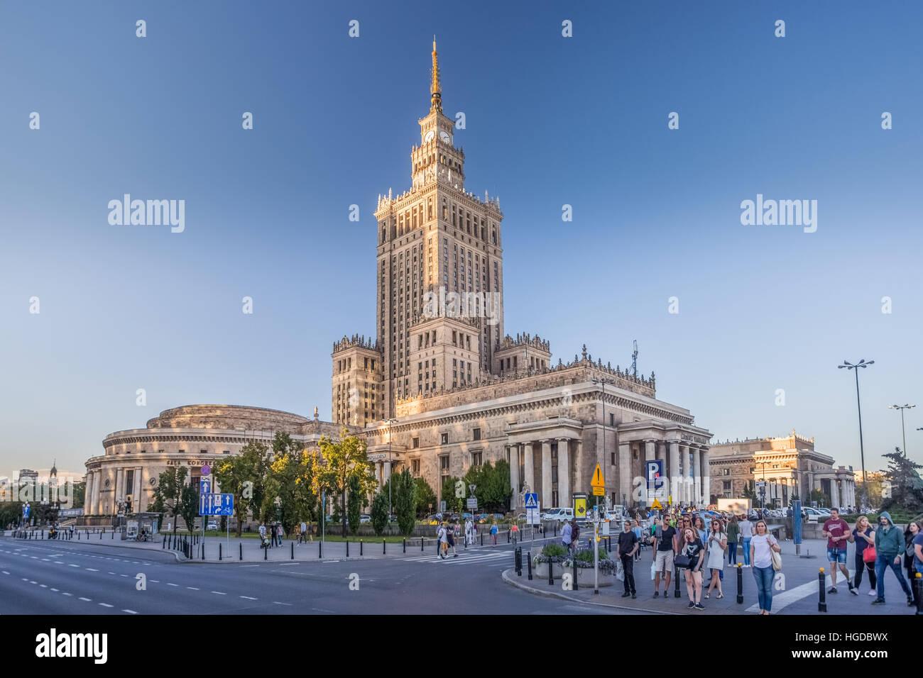 Palazzo della Cultura e della scienza Edificio n città di Varsavia Immagini Stock