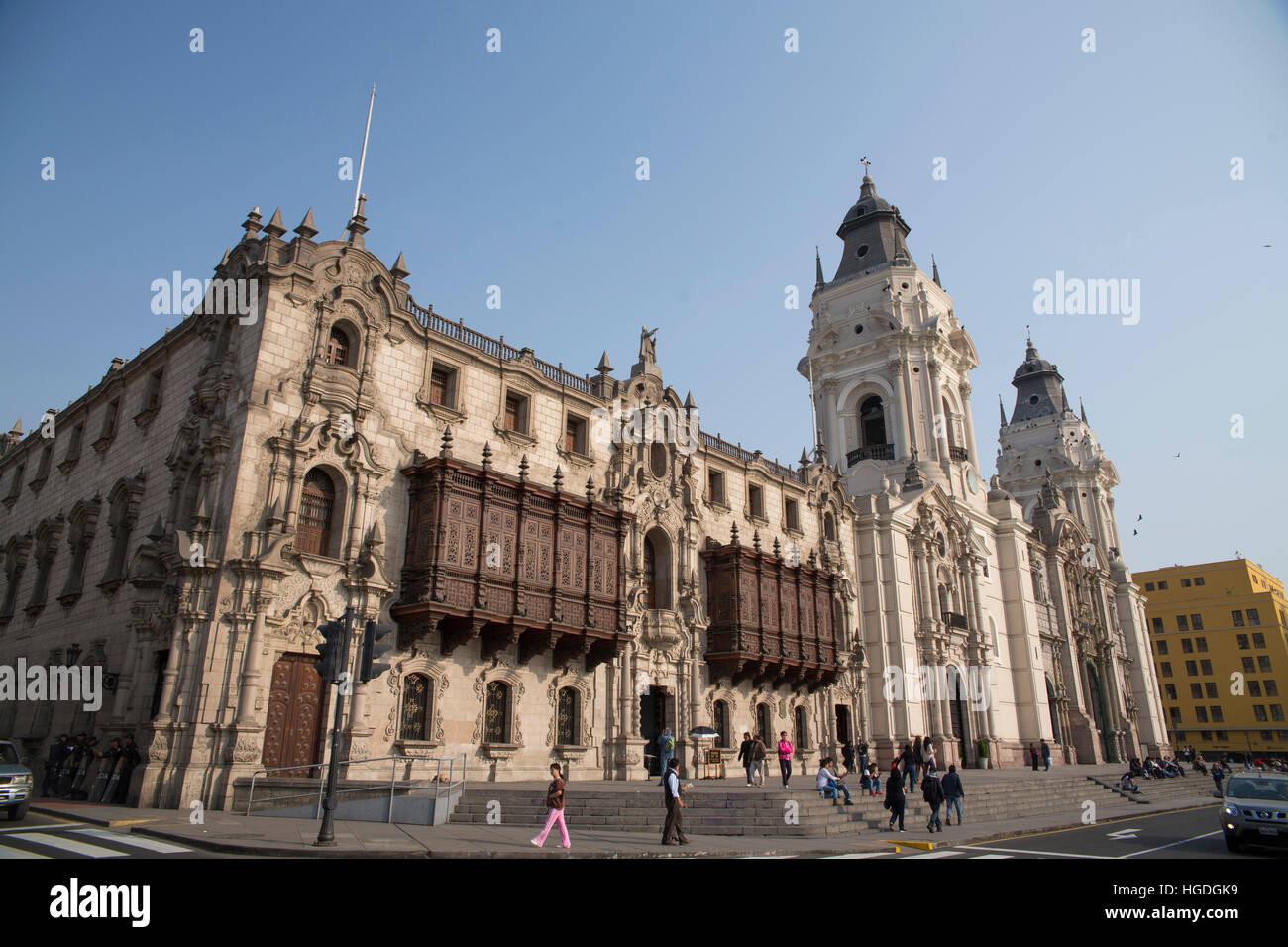 Plaza des Armes in Lima, Immagini Stock