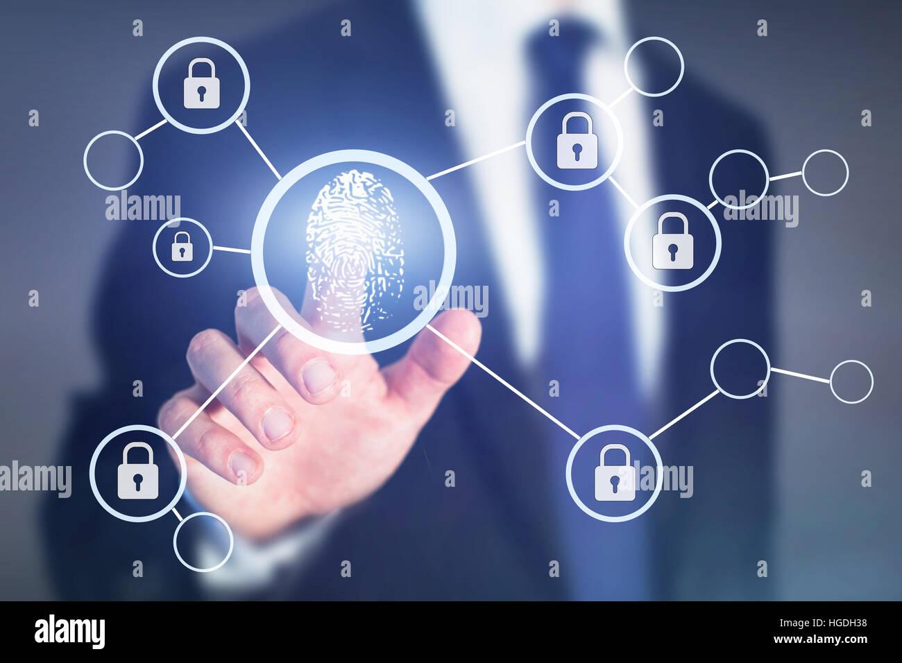 Impronte digitali di accesso autorizzazione concetto, dati personali la sicurezza delle informazioni Immagini Stock