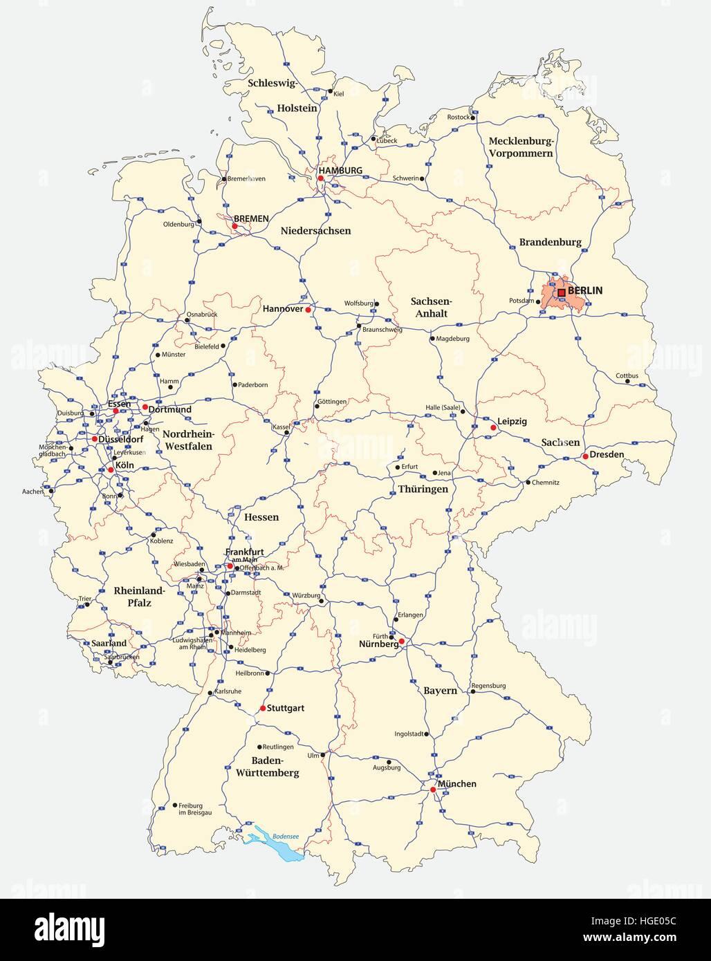 Cartina Autostradale Germania.Mappa Autostradale Della Germania Immagine E Vettoriale Alamy