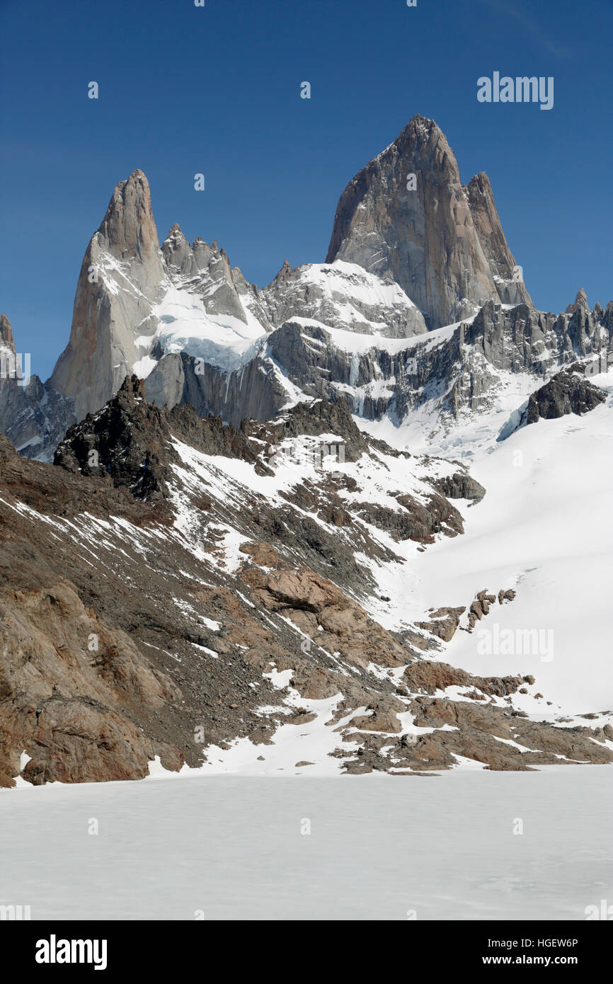 Laguna de los Tres ed il Monte Fitz Roy, El Chalten, Patagonia, Argentina, Sud America Immagini Stock