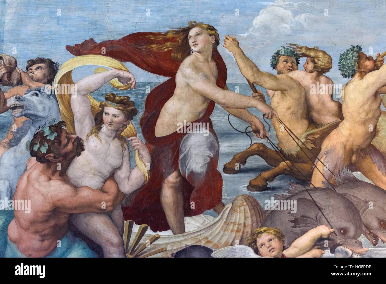 Roma. L'Italia. Villa Farnesina. Trionfo di Galatea (dettaglio), 1512, affresco di Raffaello nella Loggia di Immagini Stock