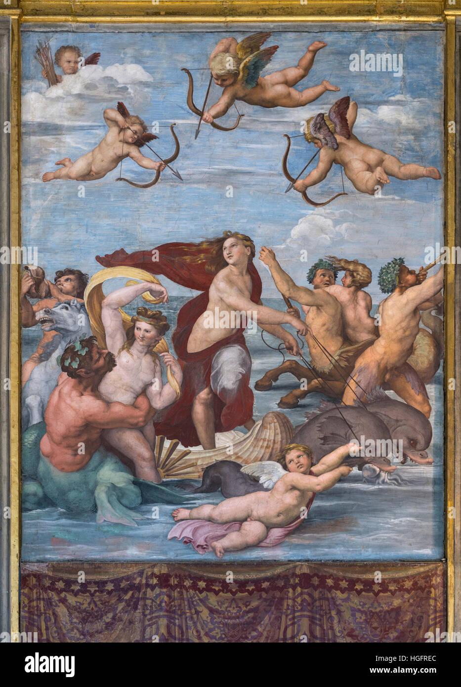 Roma. L'Italia. Villa Farnesina. Trionfo di Galatea, 1512, affresco di Raffaello nella Loggia di Galatea. Immagini Stock