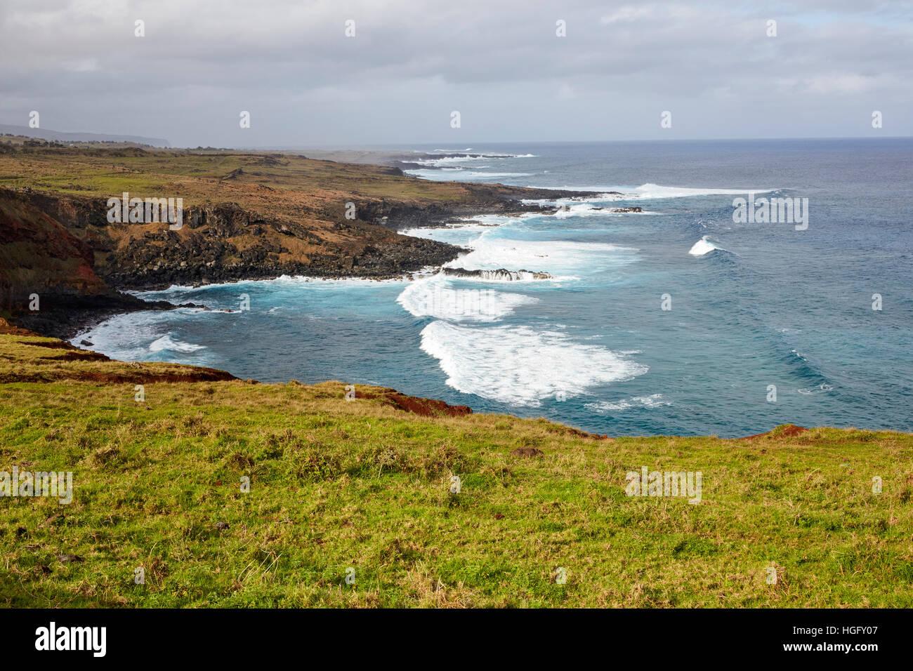 Hanga Hahave, sponda meridionale, l'isola di pasqua, Rapa Nui, Cile Immagini Stock