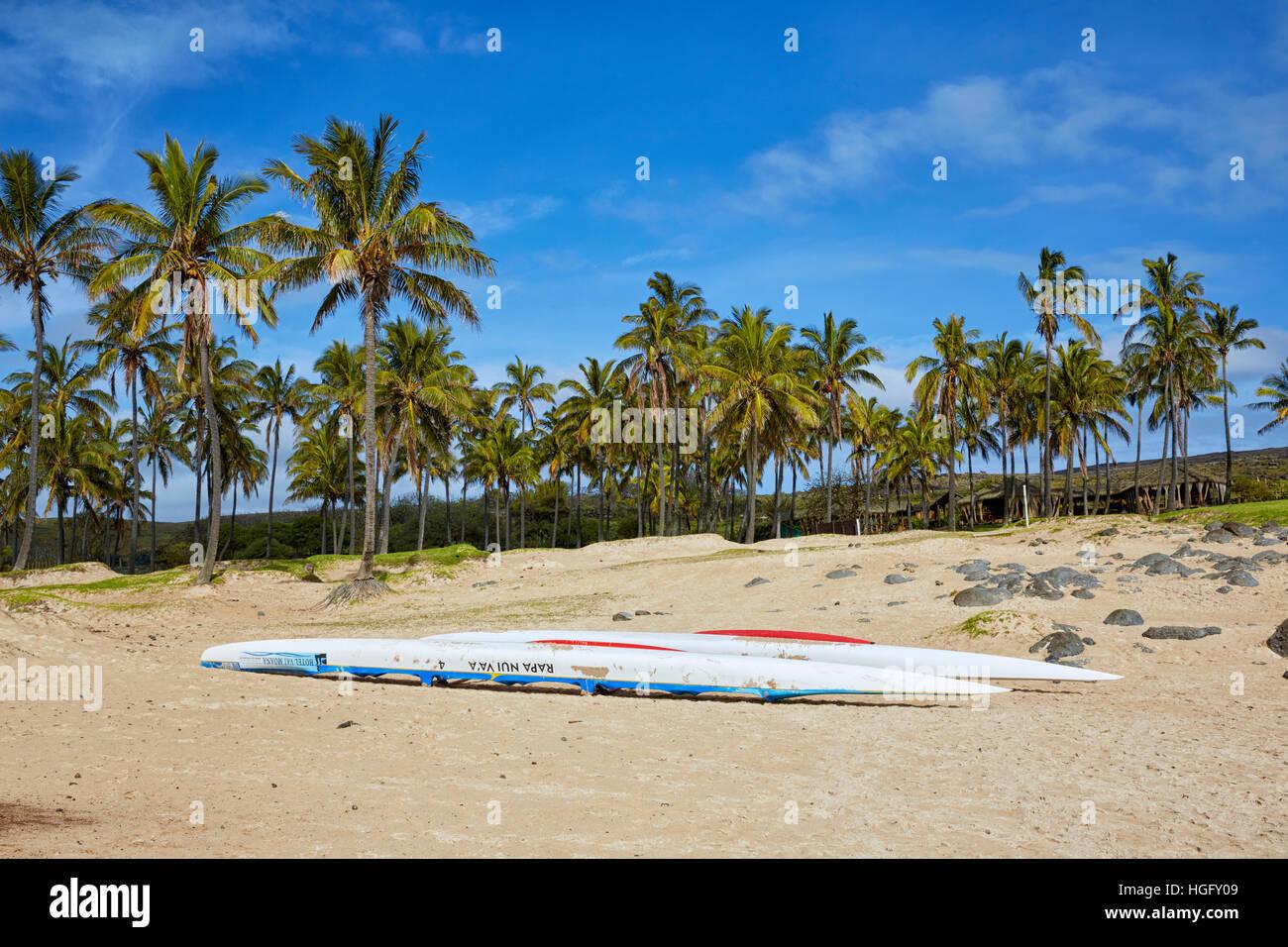 Spiaggia di Anakena, Isola di Pasqua; Cile Immagini Stock