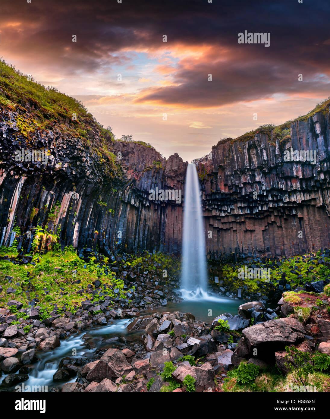 Scena estiva del famoso Svartifoss (nero caduta) cascata. Sunrise colorati in Skaftafell, Vatnajokull National Park, Immagini Stock