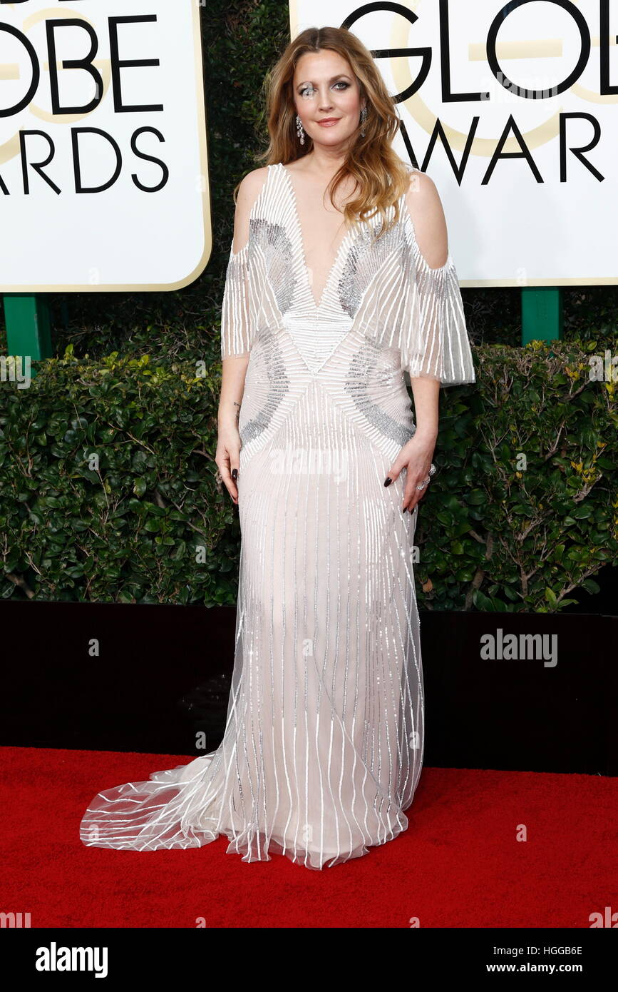 Beverly Hills, noi. 08 gen 2017. Drew Barrymore arriva al 74Annuale di Golden Globe Awards, Golden Globes, in Beverly Immagini Stock