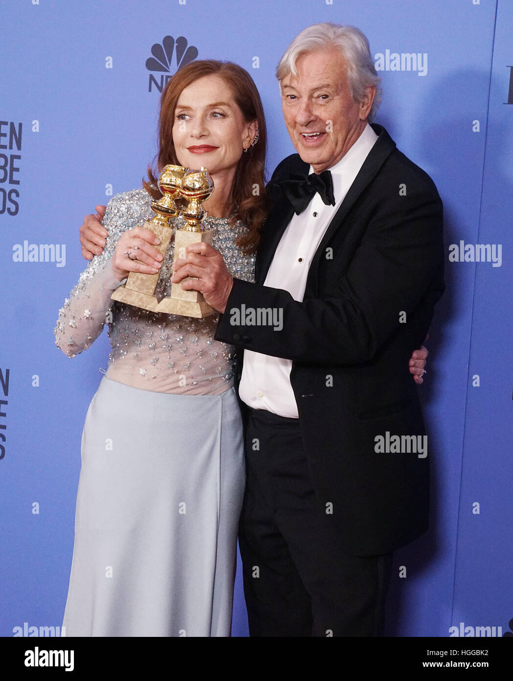 Los Angeles, Stati Uniti d'America. 08 gen 2017. Isabelle Huppert, Paul Verhoeven 332 Press room presso la 74Annuale Immagini Stock