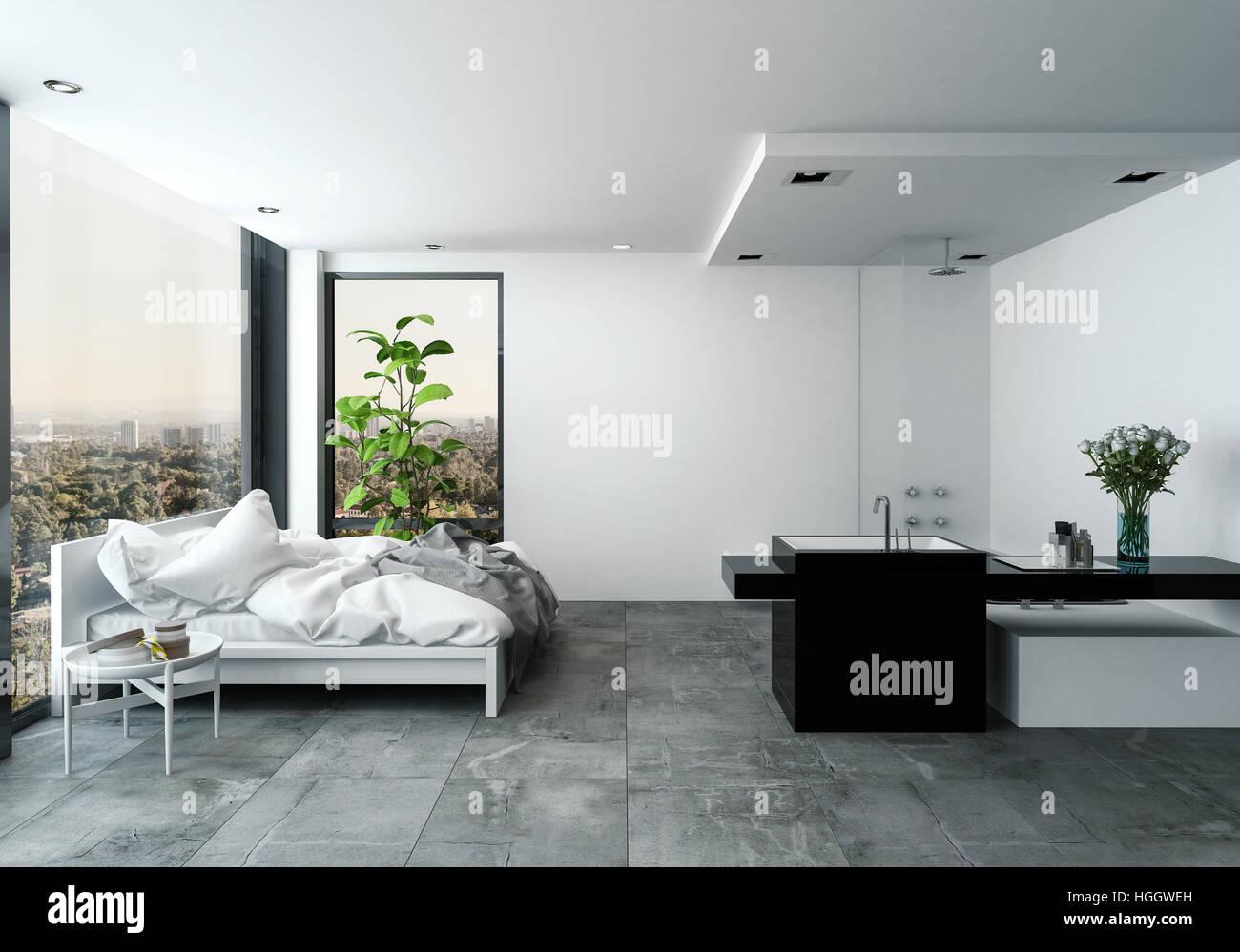 Camera moderna e spaziosa camera da letto studio con impianti di ...