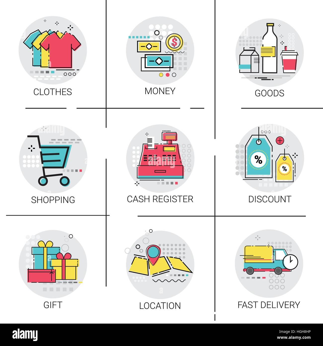 66fc10b6cb Shopping on line Consegna Imposta sconto vendita Pagamento di denaro Icona  di raccolta