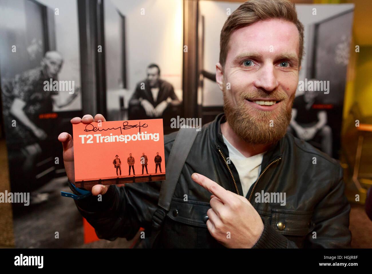Edinburgh, Regno Unito. Il 22 gennaio, 2017. T2 Trainspotting premiere a Edimburgo Cineworld. La Scozia. Foto di Immagini Stock