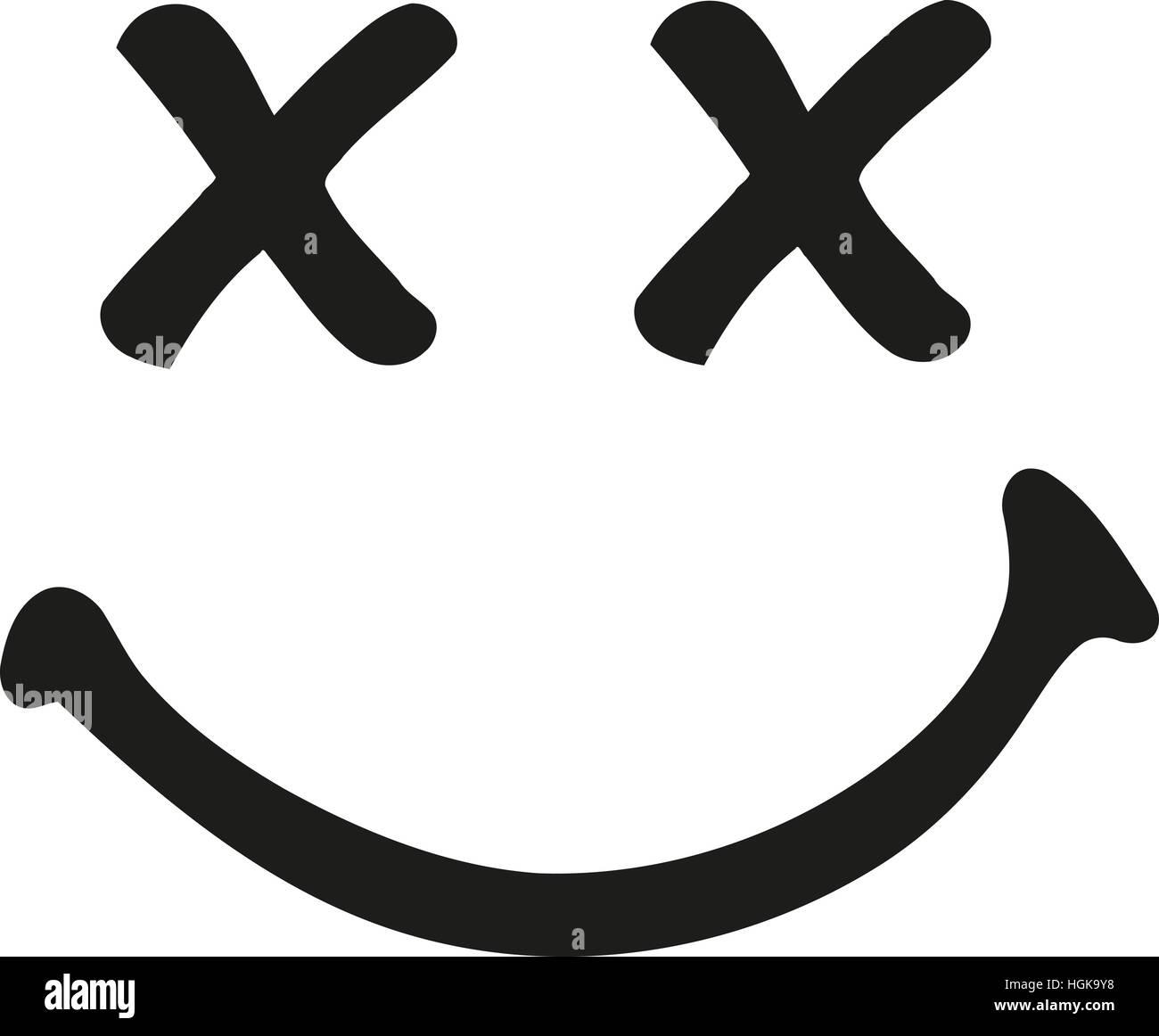 Ridendo sorridente con occhi incrociati Immagini Stock