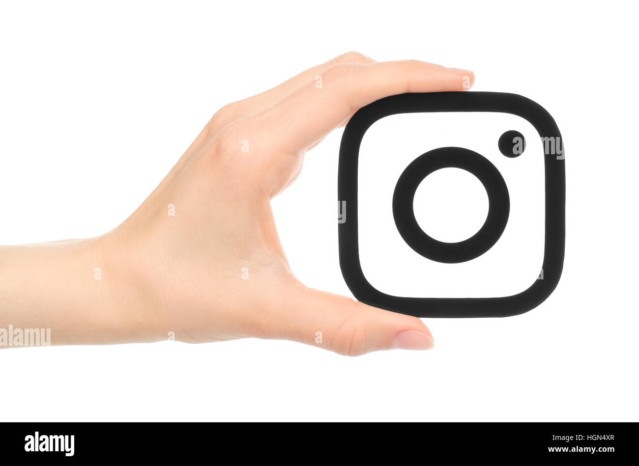 Kiev Ucraina 17 Maggio 2016 Mano Trattiene Nuovo Instagram Logo