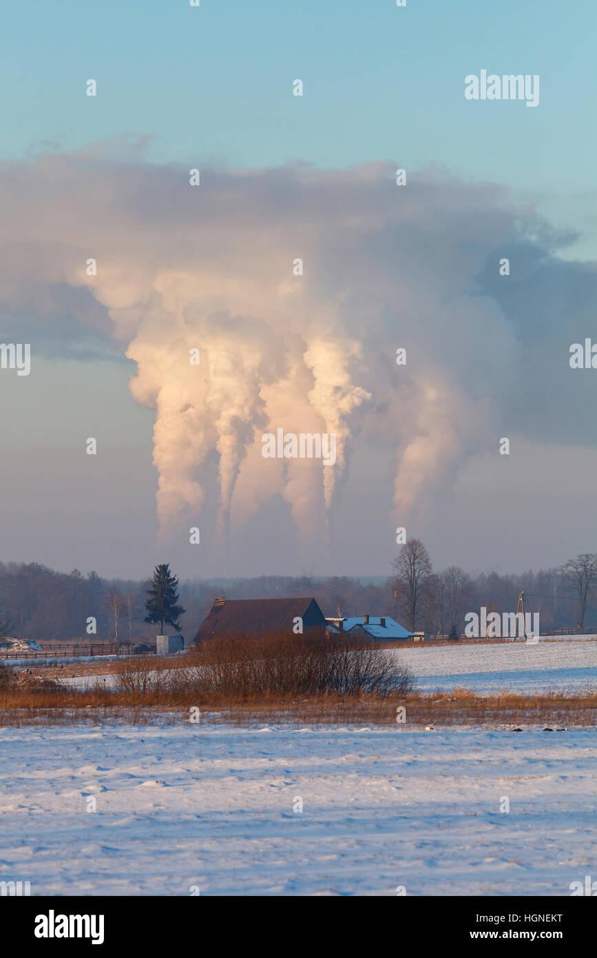 Emissioni di biossido di carbonio in atmosfera Immagini Stock