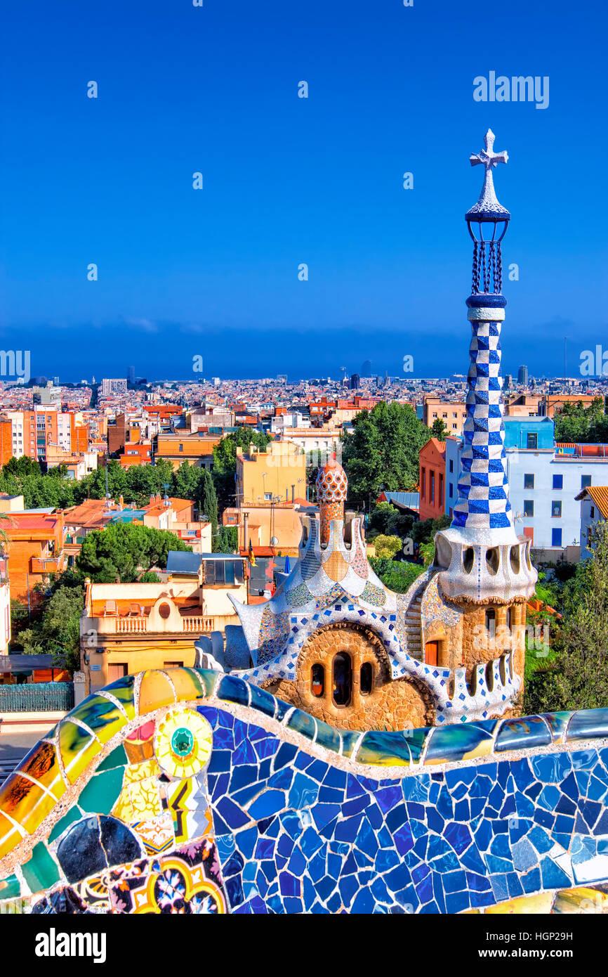 Parco Guell di Gaudi, Barcellona Foto Stock