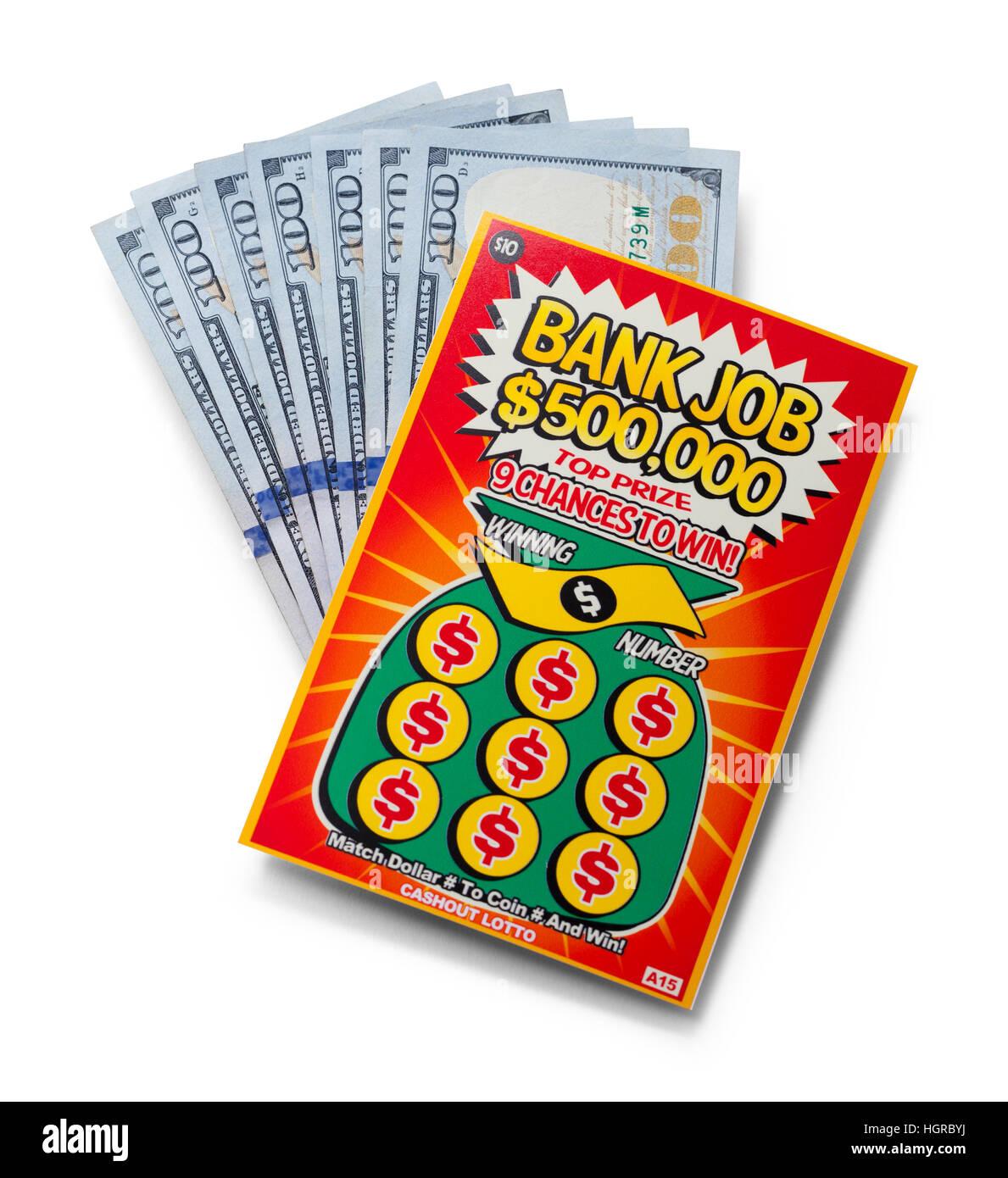 Gratta Lotto Ticket con denaro isolato su sfondo bianco. Immagini Stock