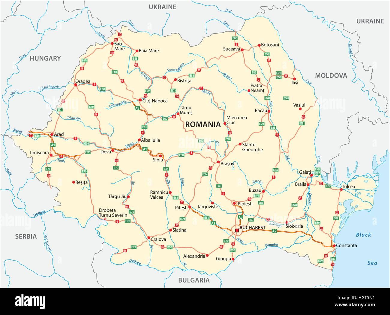 Romania Cartina Stradale.Vettore Mappa Stradale Dei Paesi Dell Est Europeo Membro Della Romania Immagine E Vettoriale Alamy