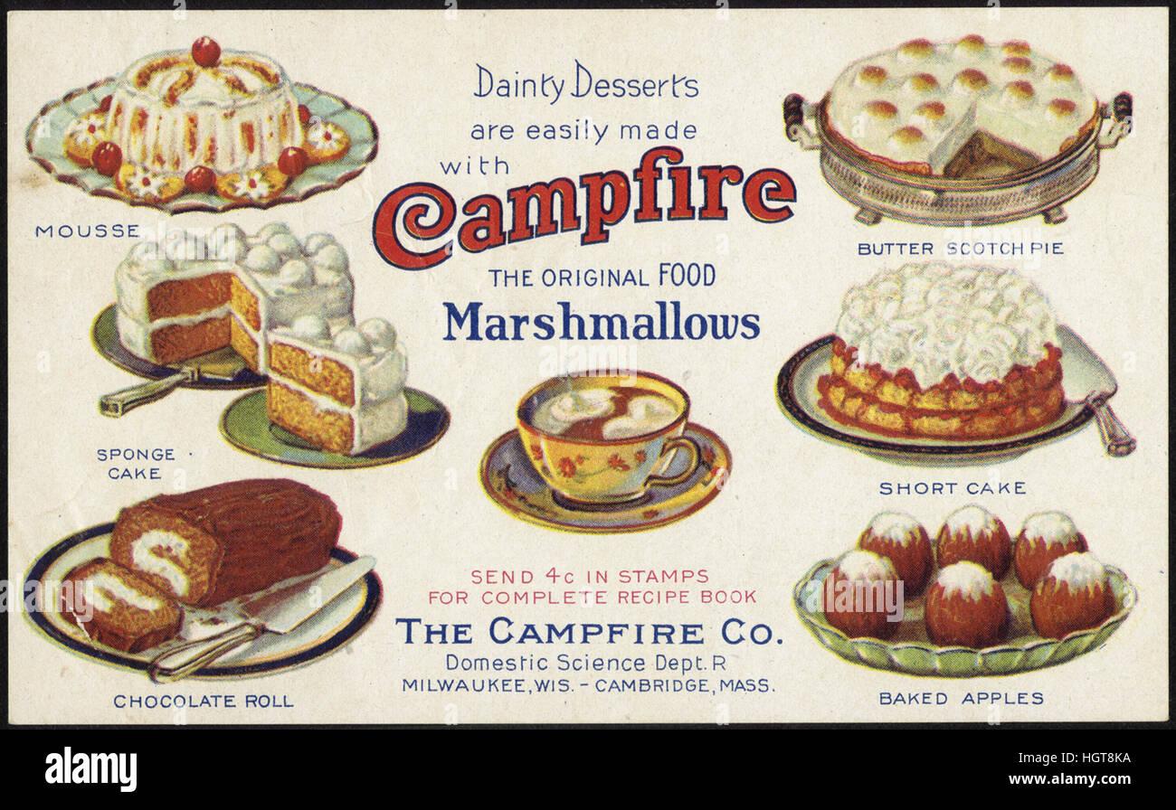 Prelibati dolci sono facilmente realizzato con falò Marshmallows, il cibo originale [Anteriore] - Il commercio Immagini Stock