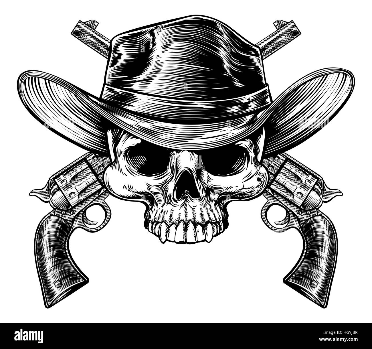Cranio da cowboy in un western hat e una coppia di attraversata pistola  pistola revolver sei 071c41832f53