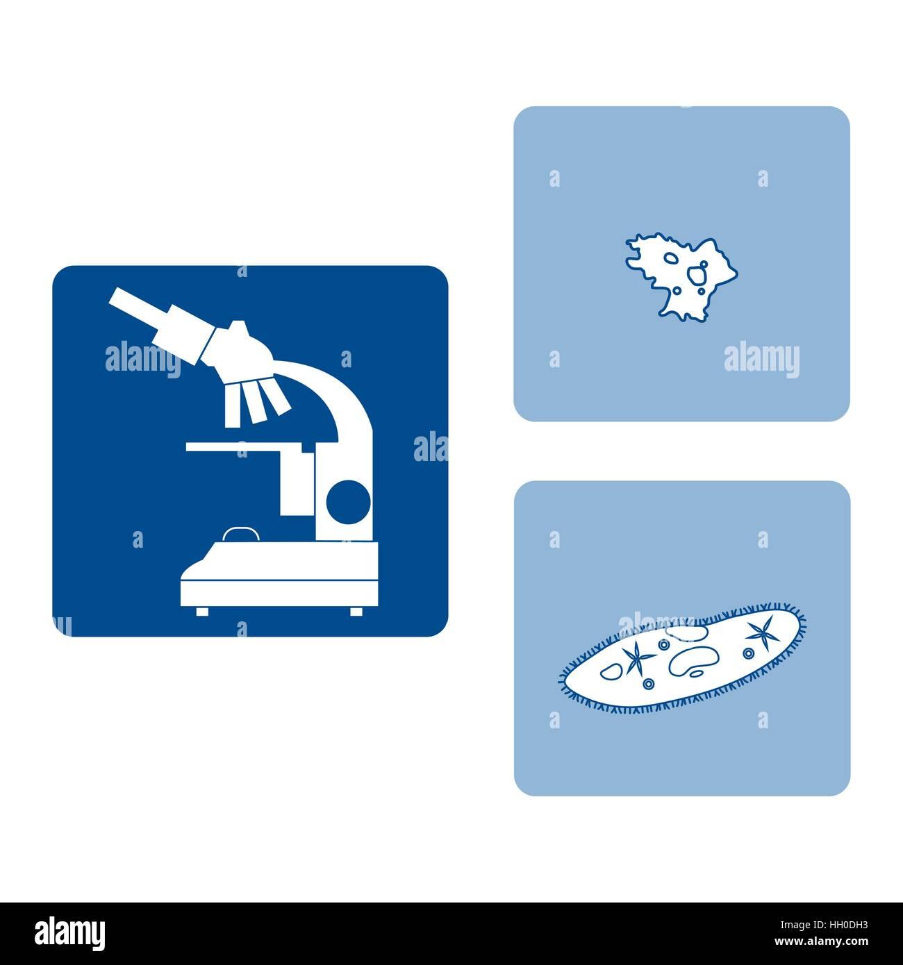 Icone stilizzate di microscopio, ameba, ciliato-pantofola. Dispositivo di ingrandimento segno. Attrezzature di laboratorio Immagini Stock
