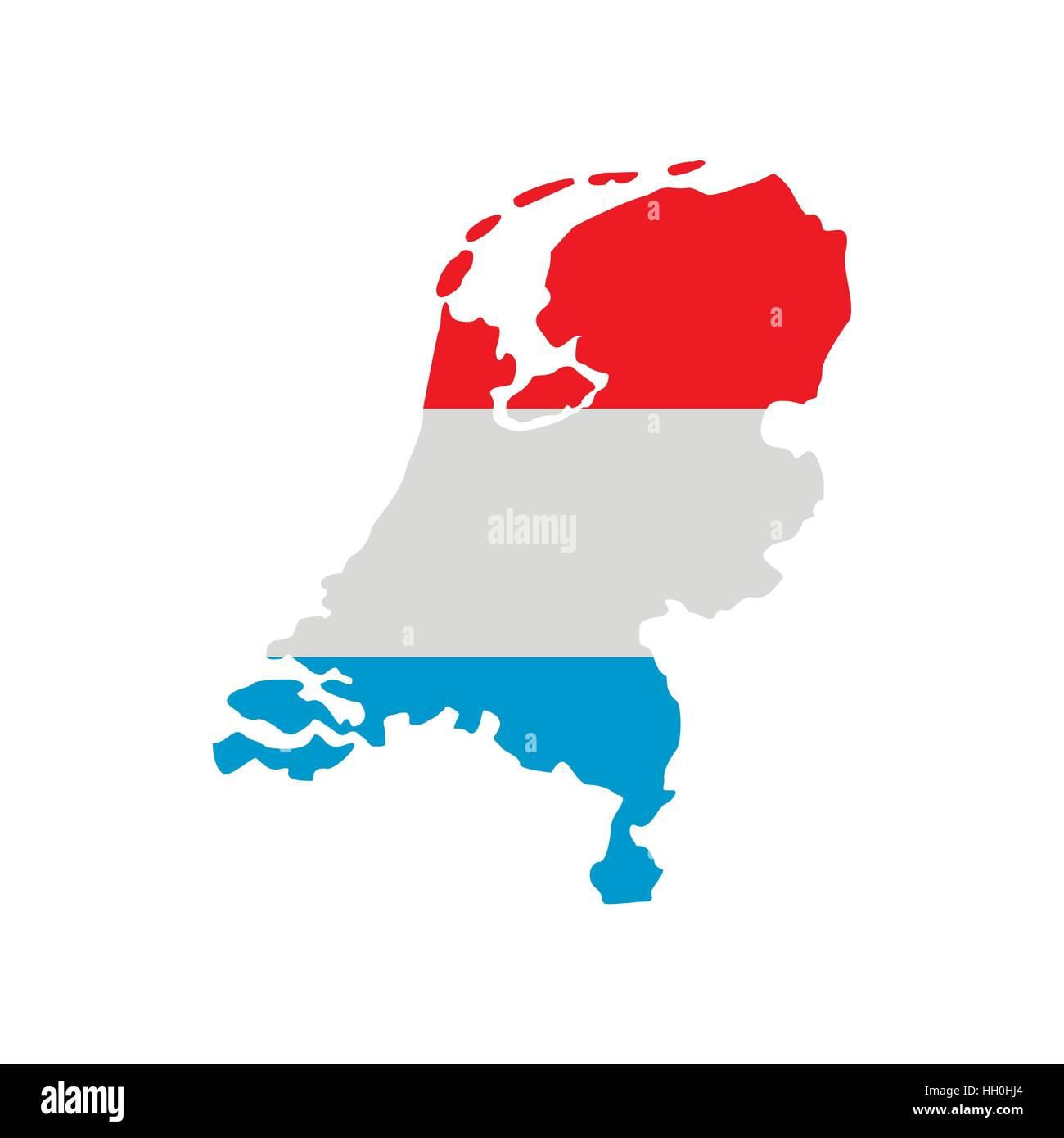 Mappa Di Paesi Bassi In Bandiera Olandese Icona Colori Illustrazione