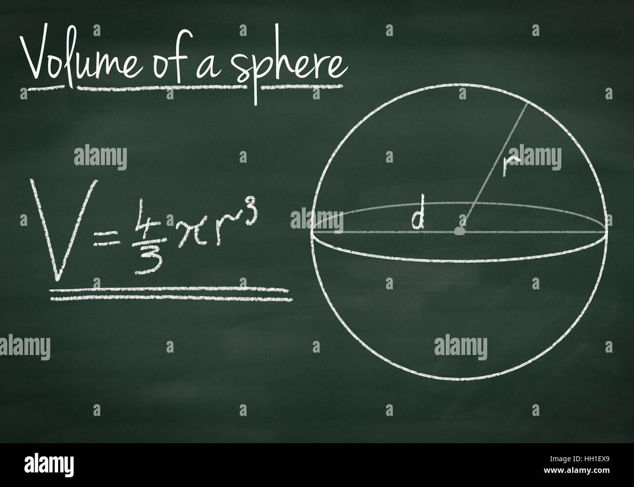 Il volume di una sfera su una lavagna Immagini Stock