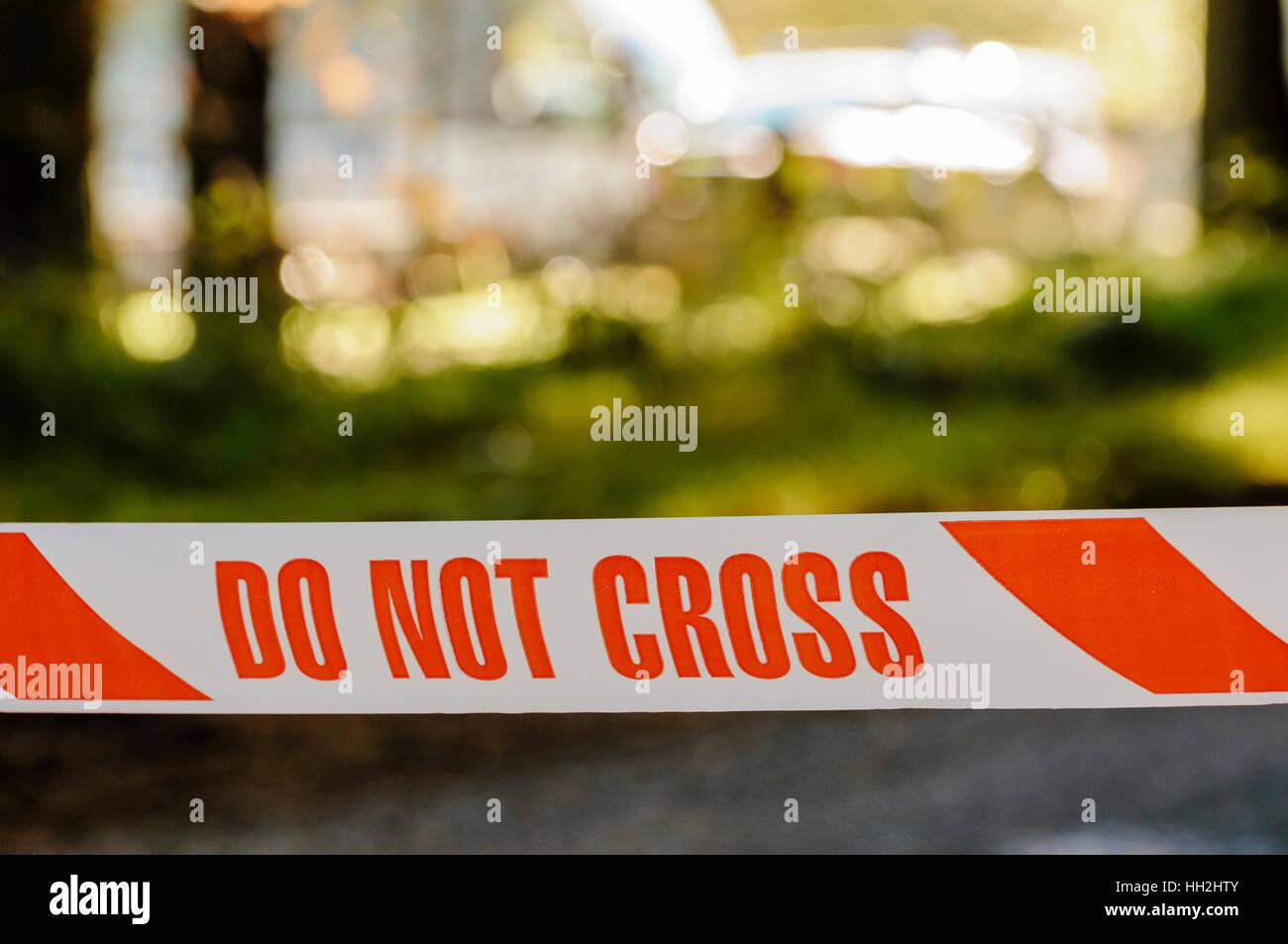 Nastro di polizia 'Non Cross' Immagini Stock