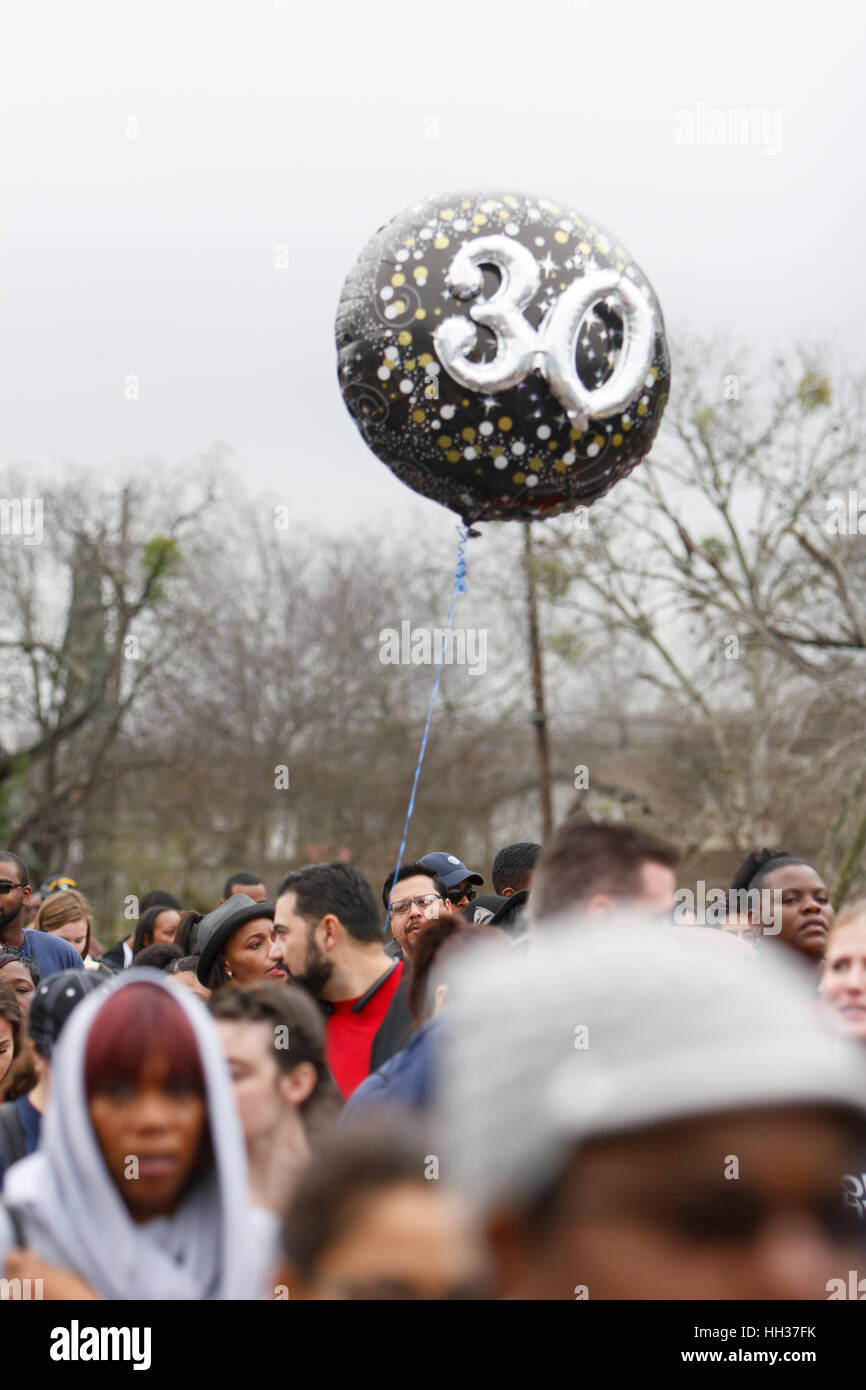 San Antonio, Stati Uniti d'America. 16 gennaio, 2017. Un palloncino portato da un marcher sottolinea il trentesimo Immagini Stock
